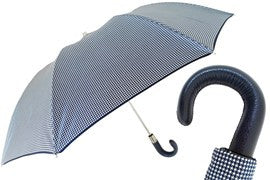 Pasotti Navy Blue and White Checkered Umbrella