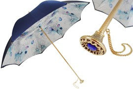Pasotti Navy Blue Umbrella w/Gold and Blue Jeweled Handle