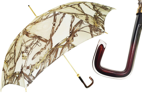 Pasotti CLASSIC DESIGN UMBRELLA WITH BRIDLES PRINT - The Passionate Collector