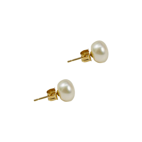 White Freshwater Button Pearl Earring Studs