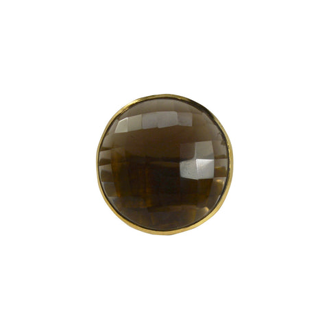 NuNu Designs 18K Gold Plated Extra Large Faceted Gem Ring