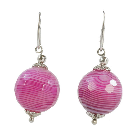 20mm Faceted Fuchsia Agate Earrings with White Gold Plated Sterling Silver leverbacks