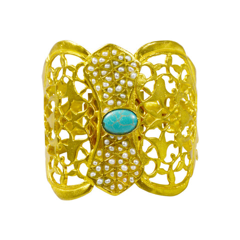 Gypsy Gold Filagree Cuff, Pearl & Turquoise - The Passionate Collector