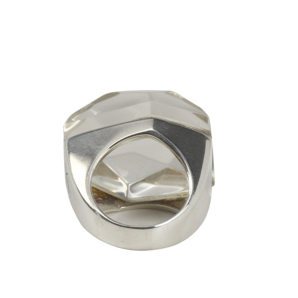 Silver Large Crystal Rock Ring