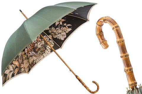 Pasotti GREEN UMBRELLA WITH WONDERFUL INTERIOR AND BAMBOO HANDLE, DOUBLE CLOTH