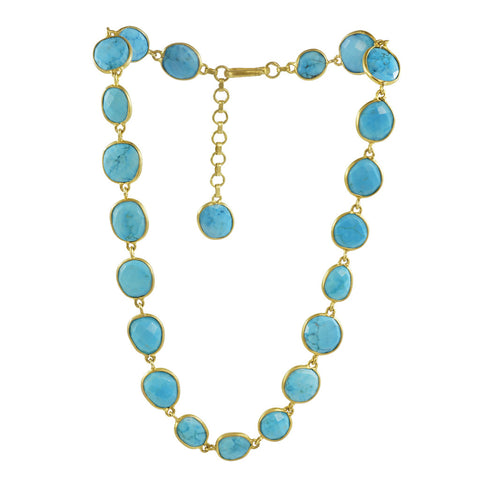 Manjusha Faceted Oval Turquoise Necklace