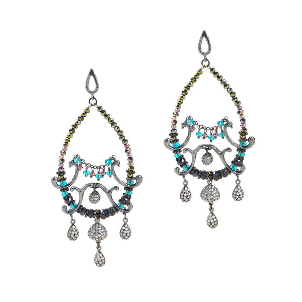 Azaara Teardrop Rhodium Dangle Earring with CZ's