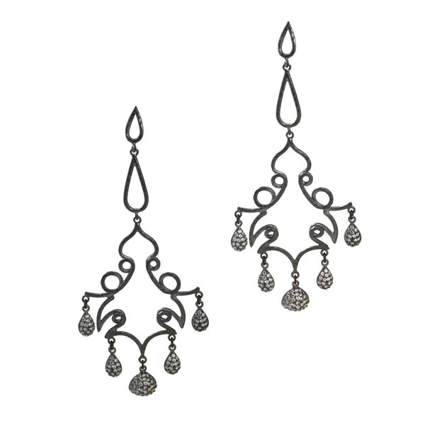 Azaara Chandelier Rhodium earrings with CZ drops - The Passionate Collector