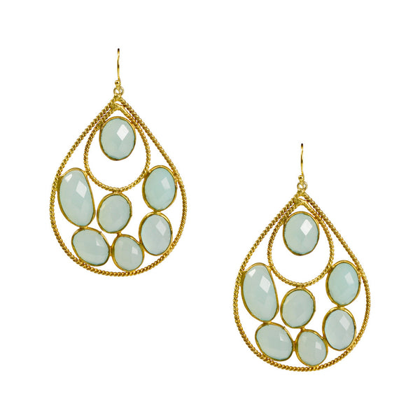 NuNu Aqua Chalcedony Teardrop Earrings
