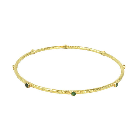 Eshel Jewelry MFG CO INC 18K Hammered gold Bangle with 8 Emerald Stones - The Passionate Collector