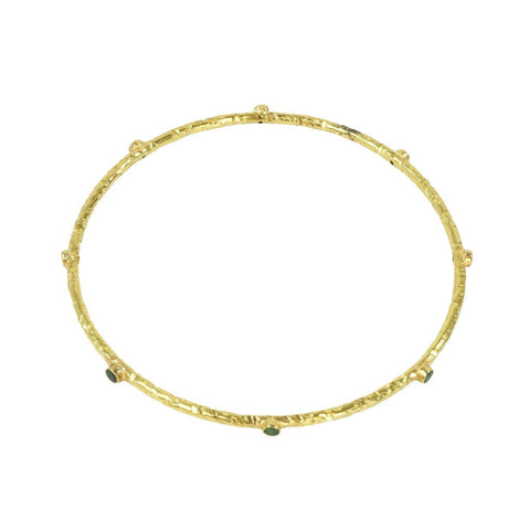 18K Hammered gold Bangle with 8 Emerald Stones