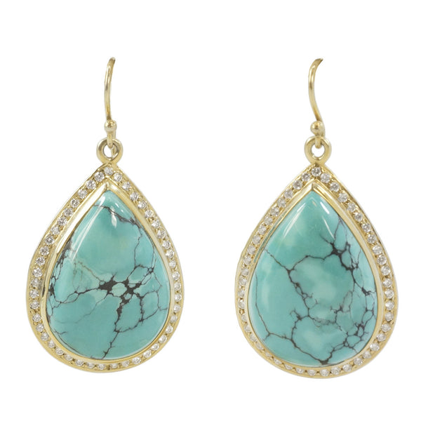 NuNu Large Turquoise Teardrop and CZ Halo Earrings - The Passionate Collector