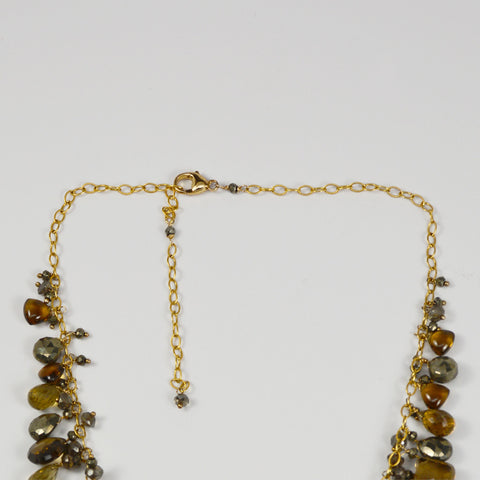Brown Topaz and Pyrite Accent Necklace