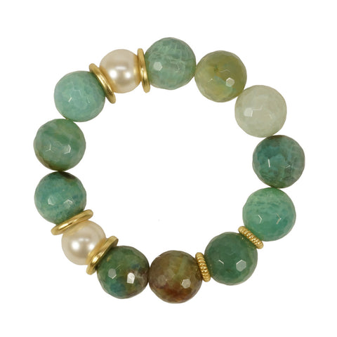 Calinana Stretch Bracelet with Green Onyx and Faux Pearl
