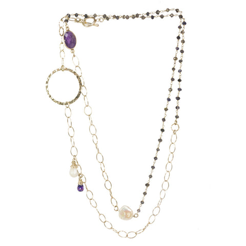 Silver Rosary with Amethyst and Pearl Necklace