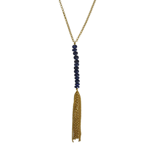 G2G Gold Tassel Necklace with Stones