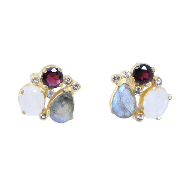 Manjusha Labradorite, Rainbow, & Garnet Multi Stone Earrings