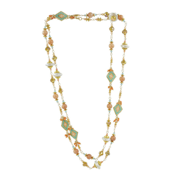 Azaara Pink Adventure Necklace with White Freshwater Pearls - The Passionate Collector