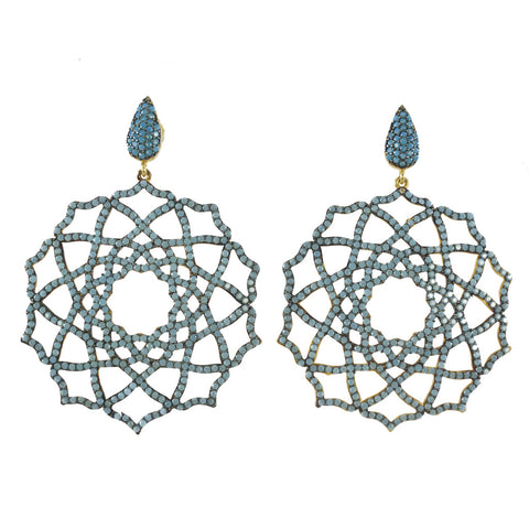 Azaara Pave Turquoise CZ Earrings