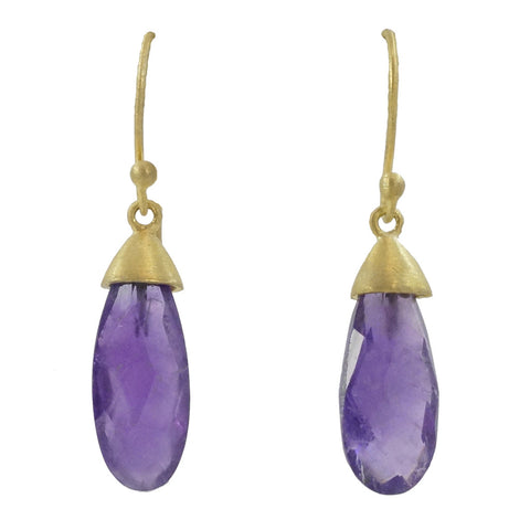 Manjusha Gold Cap Amethyst Drop Earrings