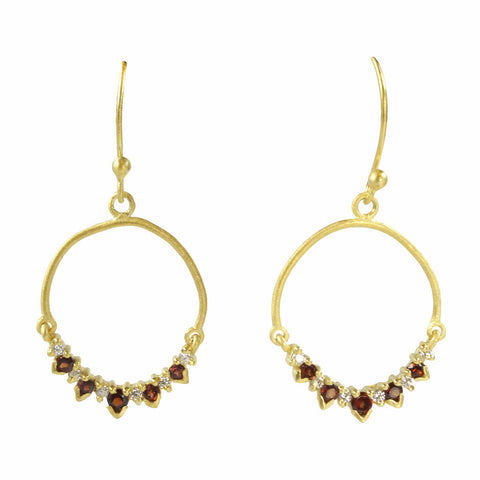 Manjusha Garnet & White Topaz Hoop Drop Earrings