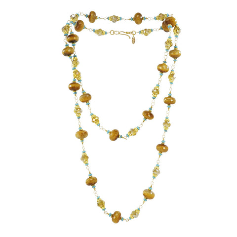 Azaara 22K Gold/Tigers Eye,Turquoise,Pyrite,Champagne Crystal Necklace