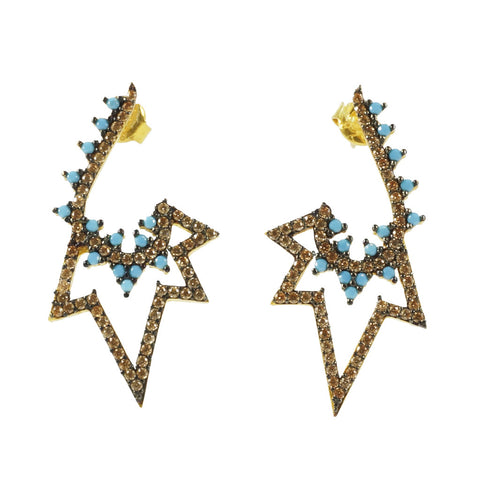 Azaara 22K Gold Rhodium Accents/Pave Champagne CZ, Turquoise CZ Earrings