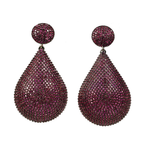 Azaara 22K Rose Gold Dipped Sterling Silver With Rhodium Accents/Pave Pink CZ - Earrings - Azaara The Passionate Collector