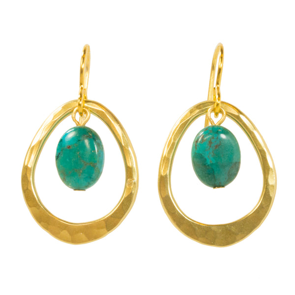 Marjorie Baer Gold and Turquoise Earrings - The Passionate Collector