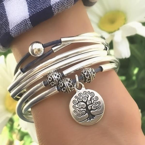 Lizzy James April Tree of Life Leather Bracelet/Necklace - The Passionate Collector