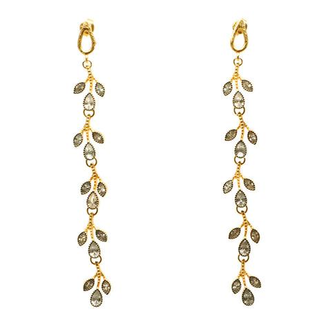 Azaara 22k Yellow Gold Earrings with Rhodium Accents and Clear Pave CZ