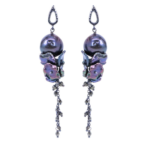 Azaara Black Pearl with Pearl Cluster Drop Earring - Earrings - Azaara The Passionate Collector