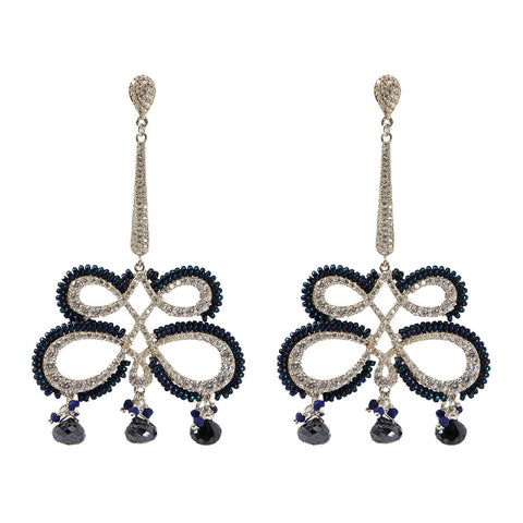 Azaara Pave Butterfly Drop with Gemstone Earring