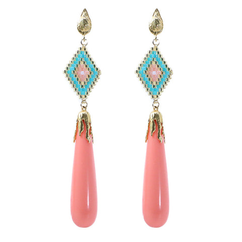Azaara Coral Drop Earrings with Multi Color Miyuki Beads - Earrings - Azaara The Passionate Collector