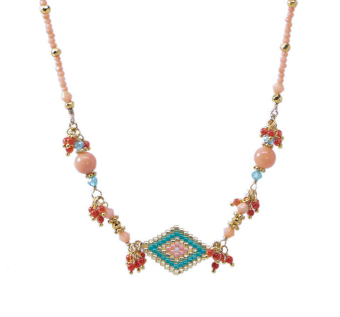 Azaara Coral Pink Necklace with Multi Stone/Beads