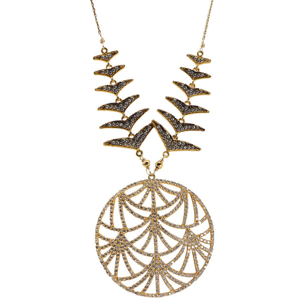 Azaara Pendant Necklace with Rhodium Accents and Yellow Gold Pyrite