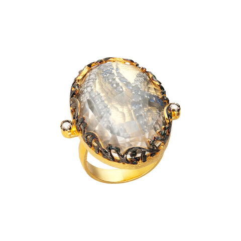 Azaara 22K gold dipped sterling silver ring with crystal