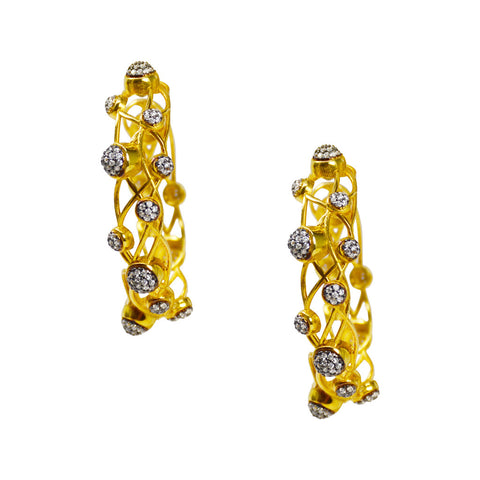 Azaara Hoop Earrings- Yellow Gold and  Cubic Zirconia - Earrings - Azaara The Passionate Collector