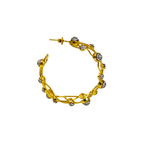 Azaara Hoop Earrings- Yellow Gold and Cubic Zirconia
