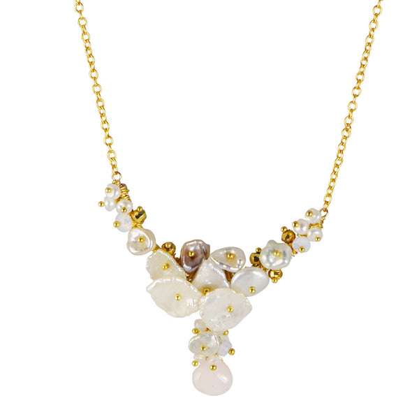 Pearl Cluster and Moonstone Drop Necklace