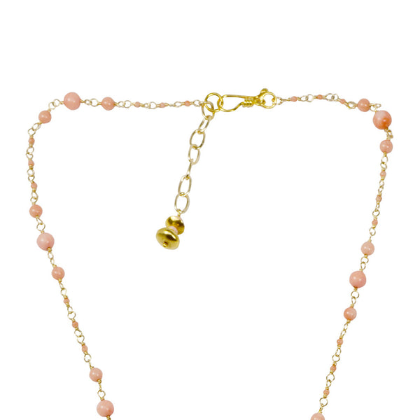 Azaara Coral Rosary Chain and Pendant Drop Necklace - Necklace - Azaara The Passionate Collector