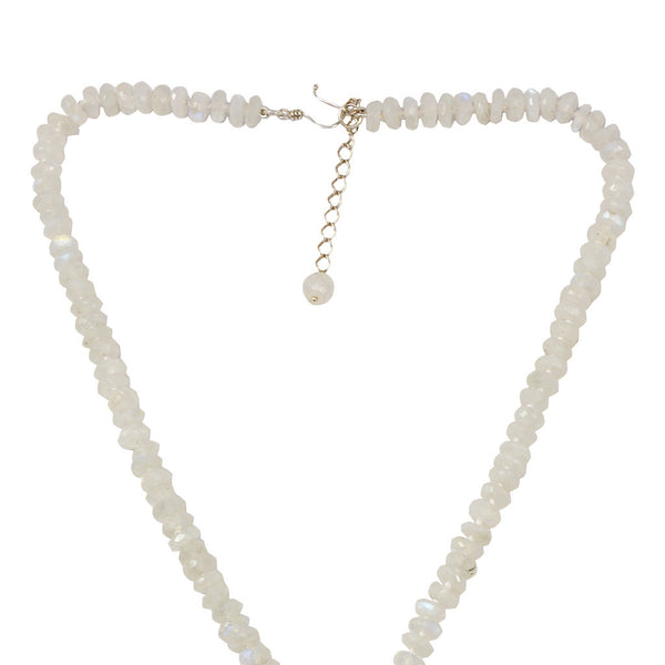Azaara Moonstone Chain with Pave Rhodium Pendant Necklace