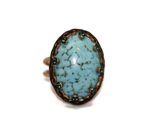 Azaara Hand Wrapped Turquoise and Pave Green CZ Ring - Ring - Azaara The Passionate Collector