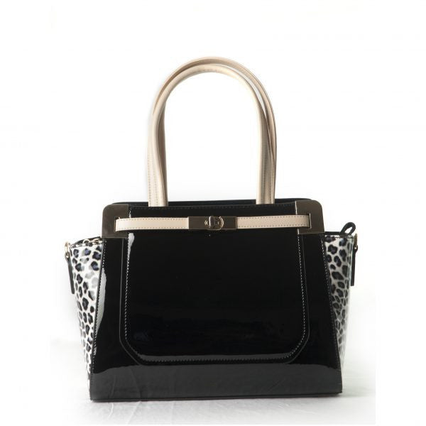 Bravo Viktoria Black Panther Print Leather Handbag