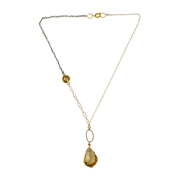 Bijou Amani Vermeil Citrine Quartz Pendant with Pearl Necklace