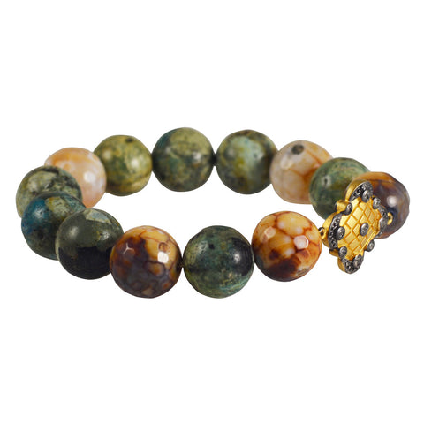 Blue-Green Opal Agate Stretch Bracelet 12mm