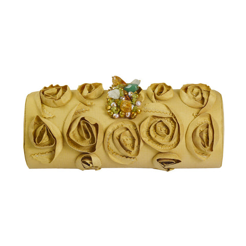 Brianstones Gold Silk Swirl and Gemstone Clutch