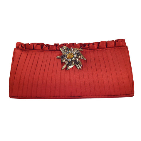 Brianstones Red Silk Clutch with Gemstone Clasp