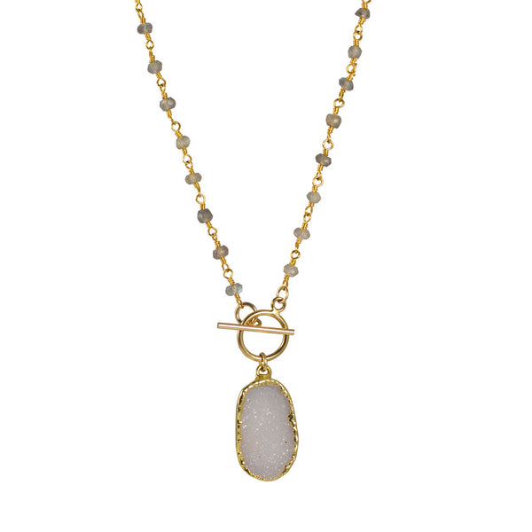 Calinana Druzy pendant with rosary chain - The Passionate Collector
