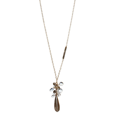 Charme Elongated Teardrop Pendant with Gemstone Cluster Necklace